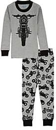 Sara's Prints KIDS' MOTORCYCLE-PRINT COTTON-BLEND PAJAMA SET-GRAY SIZE 10 YRS