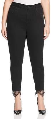 Seven7 Jeans Plus Lace-Hem Skinny Jeans in Abbys Black