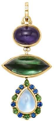 Temple St. Clair Dream Catcher 18K Yellow Gold, Diamond & Multi-Stone Tiered Pendant