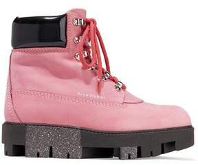 Acne Studios Telde Patent Leather-Trimmed Suede Snow Boots