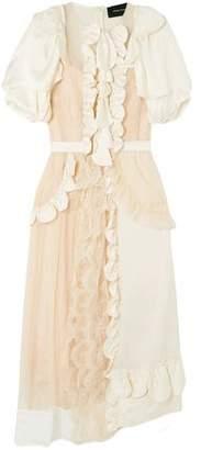 Simone Rocha Ruffled Embroidered Tulle And Silk-satin Midi Dress