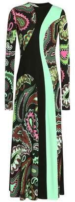 Emilio Pucci Paneled Floral-Print Jersey Midi Dress
