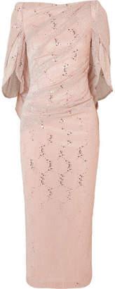 Talbot Runhof Sojourn Cape-effect Sequin-embellished Lurex Dress - Blush