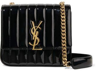 35642fa0e331 Saint Laurent Vicky Medium Quilted Patent-leather Shoulder Bag - Black