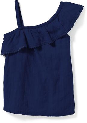 Ruffled One-Shoulder Dobby Top for Girls $19.94 thestylecure.com