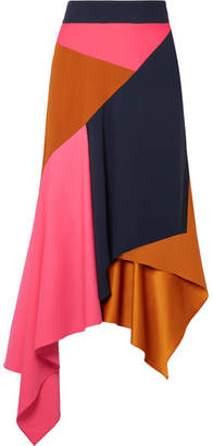 Peter Pilotto Asymmetric Paneled Cady And Wool-blend Skirt - Camel