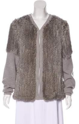 Haute Hippie Rib Knit Fur Cardigan