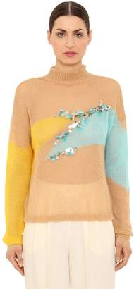 DELPOZO Embellished Wool Blend Knit Sweater