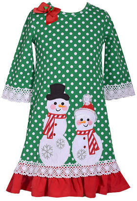 Bonnie Jean Long Sleeve Holiday A-Line Dress - Preschool Girls