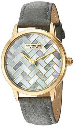 Akribos XXIV Women 'sゴールド調マザーオブパールMosaic Dial withグレーグローブスタイル本革ストラップ腕時計ak906gy