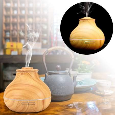 TMISHION Ultrasonic Essential Oil Diffuser,Wooden LED Aroma Humidifier Air Diffuser for home office use(Light Wood)