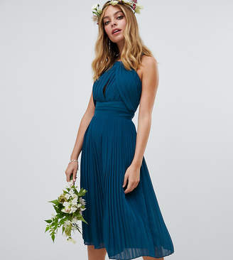 TFNC Petite pleated bridesmaids midi dress in petrol blue