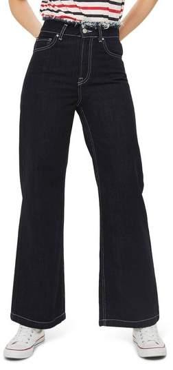 Frayed Waist Wide Leg Jeans