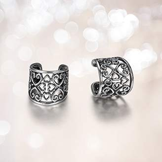 Celtic Sterling Silver Oxidized Heart Knot Ear Cuffs