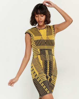RVN Geometric Stripe Sheath Dress