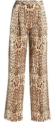 ADAM by Adam Lippes Leopard-Print Wool Wide-Leg Pants