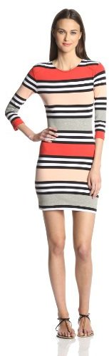 French Connection Women's Multi Jag Stripe Long Sleeve Dress