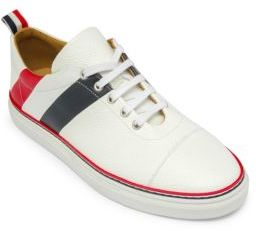 Thom Browne Diagonal Stripe Canvas & Leather Low-Top Sneakers $690 thestylecure.com