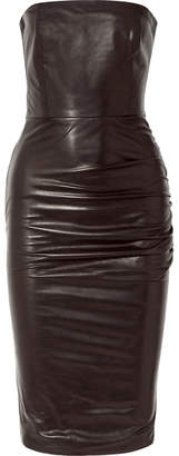 Tom Ford Strapless Ruched Leather Dress - Black