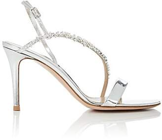 Gianvito Rossi Women's Crystal-Embellished Specchio Leather Sandals - Silver