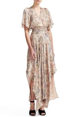 Maje Rachel Paisley Smocked Waist Asymmetrical Maxi Dress
