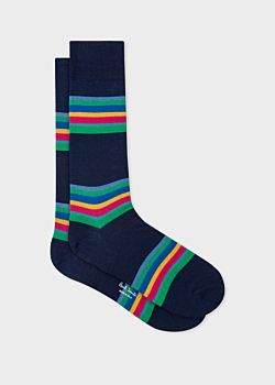 Paul Smith Men's Navy Colour-Block Stripe Socks