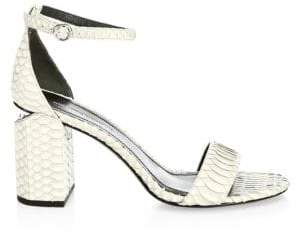 Alexander Wang Abby Leather Snakeskin Ankle Strap Sandals
