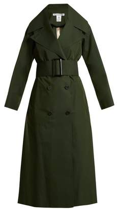 Oscar de la Renta Over Sized Notch Lapel Cotton Blend Trench Coat - Womens - Dark Green