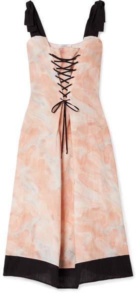 Santaquin Lace-up Printed Linen Midi Dress - Pink