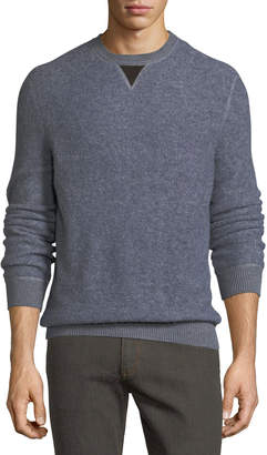Ermenegildo Zegna Boucle Pullover Sweater with Leather V Detail