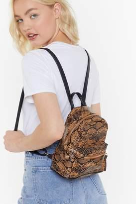 Nasty Gal Womens Want Snake My Breath Away Faux Leather Mini Backpack - Beige - One Size, Beige