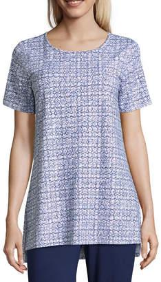 Liz Claiborne Studio Short Sleeve Round Neck Tunic-Womens