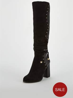 a77f94aed7c Very Iman Stud Detail Slouch Knee Boot - Black