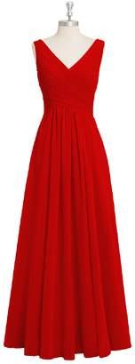 NOVIA Women's Chiffon V Neck Bridesmaid Dress Long Bust Pleated Formal Evening Dresses 0