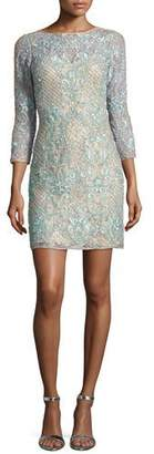 Aidan Mattox 3/4-Sleeve Beaded Lace Cocktail Dress, Light Green