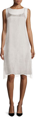 Eileen Fisher Sleeveless Organza Knee-Length Dress $298 thestylecure.com