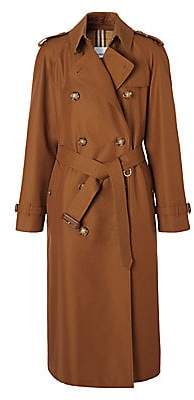 Burberry Women's Waterloo Double Breasted Cotton Gabardine Trench Coat