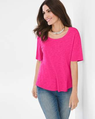 Cotton-Blend Slub Elbow-Sleeve Tee