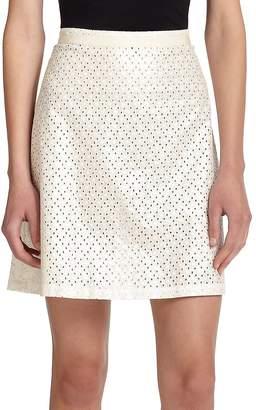 Suno Women's Eyelet Back-Pleat Skirt