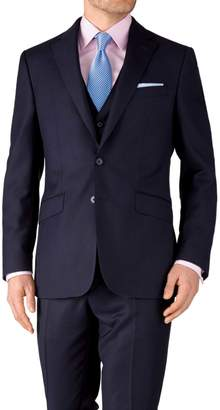 Charles Tyrwhitt Ink Blue Slim Fit Birdseye Travel Suit Wool Jacket Size 44
