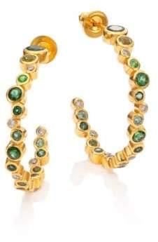 """Gurhan Pointelle Diamond, Multi-Stone& 24K Yellow Gold Hoop Earrings/1"""""""