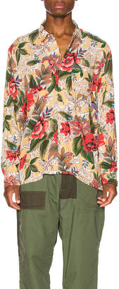 Engineered Garments Classic Shirt in Yellow Floral   FWRD