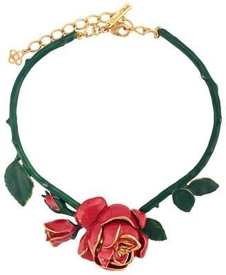 Oscar de la Renta rose ornament necklace