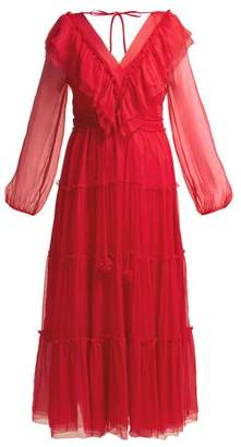 Bluebelle Lee Mathews Silk Georgette Midi Dress - Womens - Red