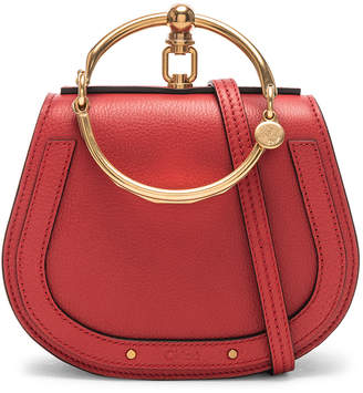 Chloé Small Nile Bracelet Bag Calfskin Suede In Plaid Red Fwrd