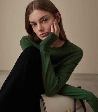 Reiss Our last order date for Christmas has now passed DARCIA MERINO JUMPER Dark Green
