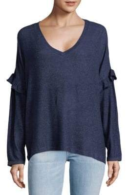 V-Neck Ruffle-Trimmed Top