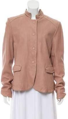 Giorgio Armani Leather Snap-Up Jacket