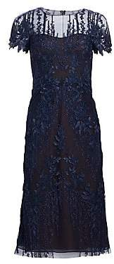 David Meister Women's Floral-Embroidered A-Line Dress