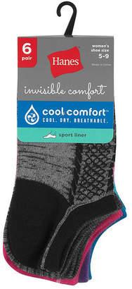 Hanes 6 Pair Liner Socks - Womens